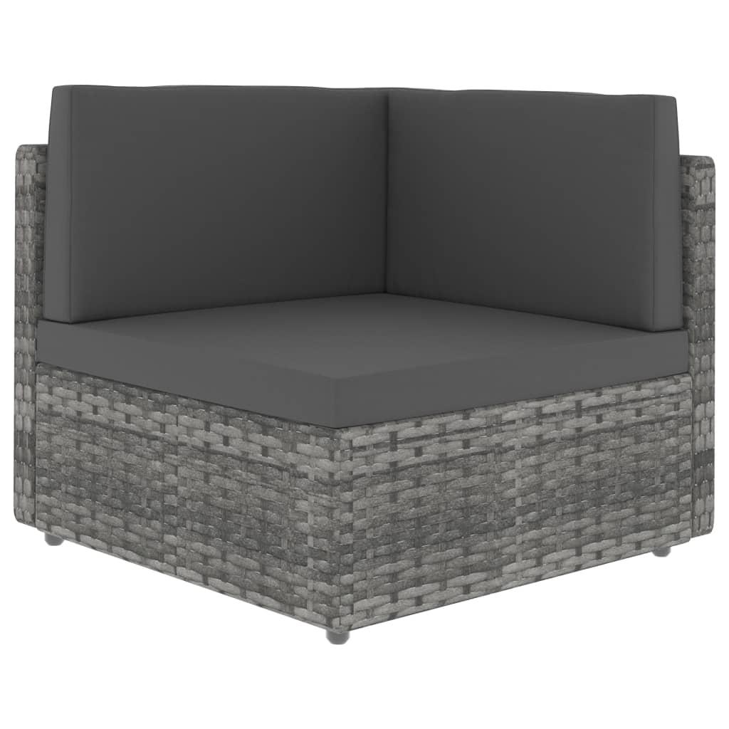vidaXL Canapea de colț modulară, gri, poliratan imagine vidaxl.ro