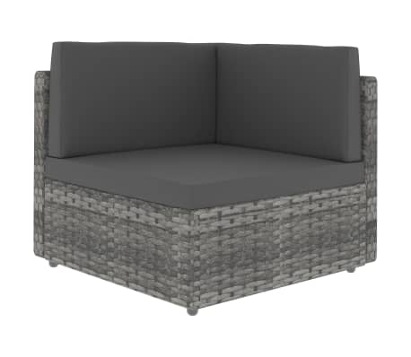 vidaXL Sectional Corner Sofa Poly Rattan Grey