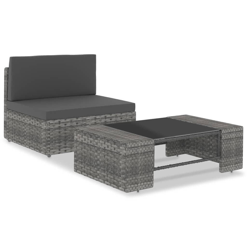 vidaXL Set mobilier de grădină, 2 piese, gri, poliratan vidaxl.ro