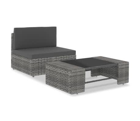 vidaXL 2 Piece Garden Lounge Set Poly Rattan Grey