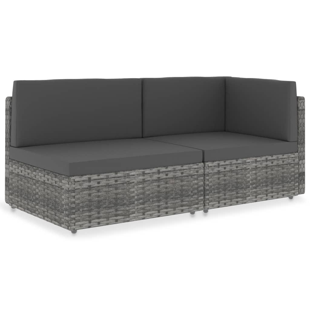 vidaXL Canapea modulară cu 2 locuri, gri, poliratan vidaxl.ro