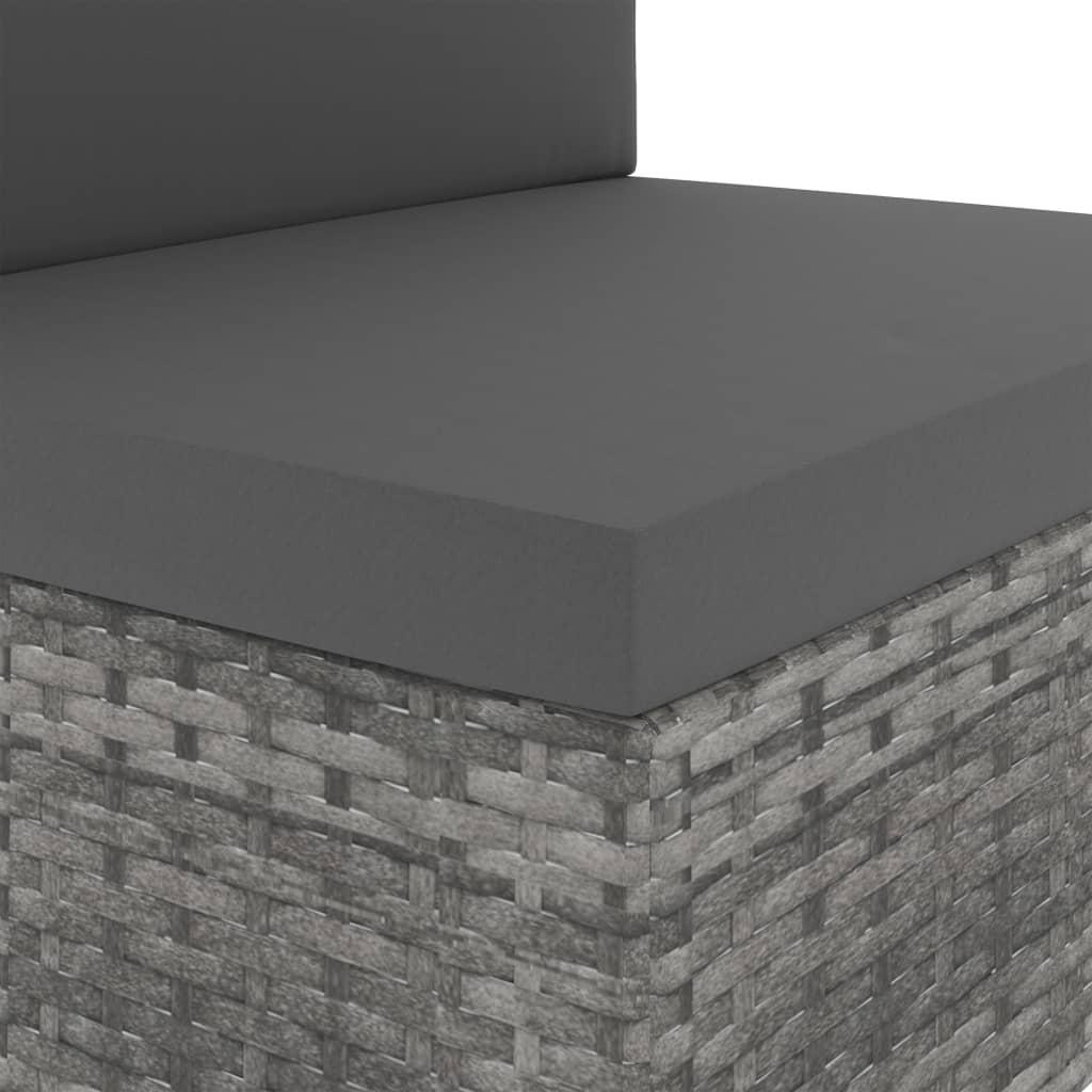 vidaXL Driezitsbank sectioneel poly rattan grijs