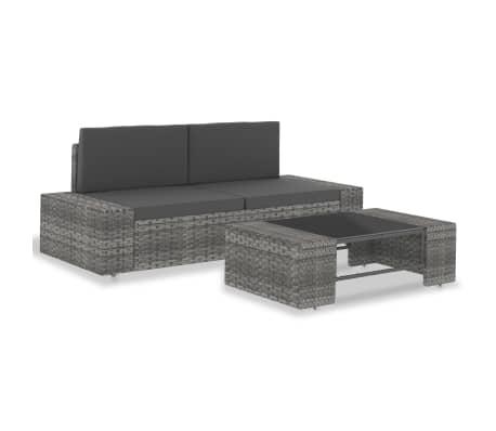 vidaXL Loungegrupp för trädgården 3 delar konstrotting grå
