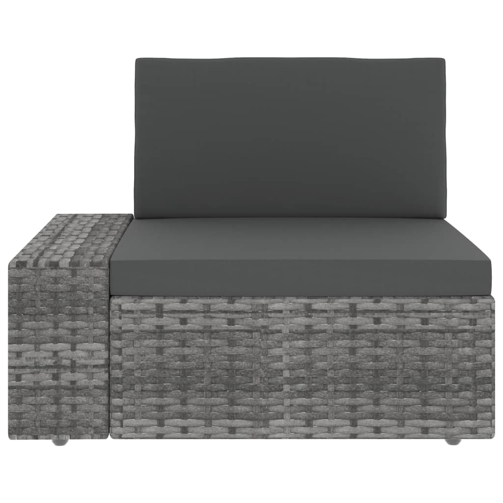 vidaXL 3-delige Loungeset poly rattan grijs