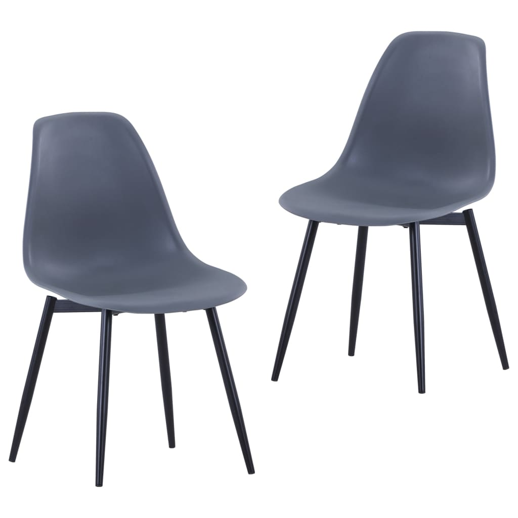 Jídelní židle 2 ks šedé PP