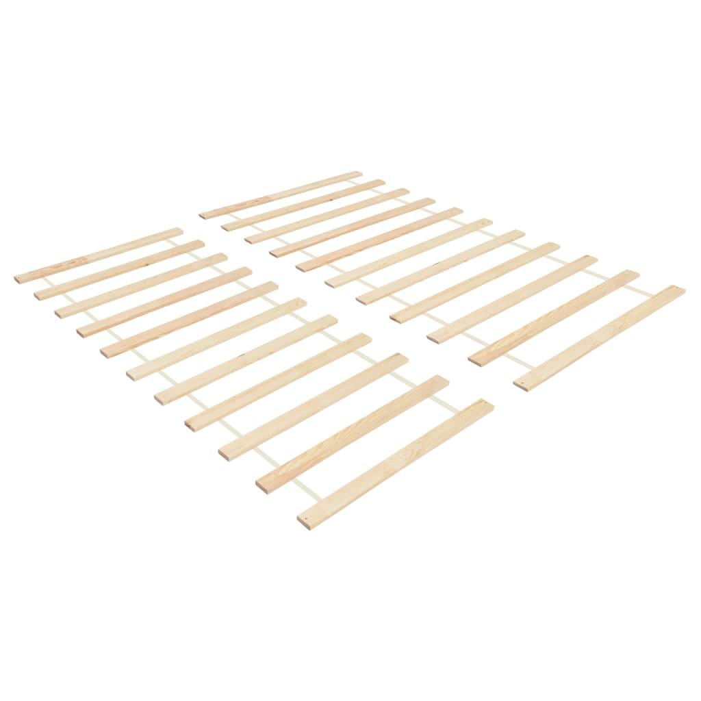vidaXL Baze pat rulabile cu 11 șipci 2 buc. 70x200 cm lemn masiv pin imagine vidaxl.ro