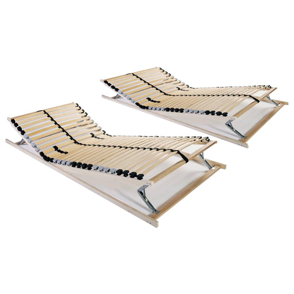 vidaXL Baze de pat cu șipci, 2 buc., 28 șipci, 7 zone, 80 x 200 cm poza vidaxl.ro