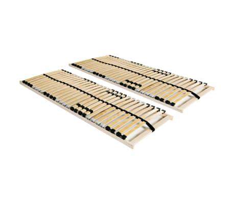 vidaXL Slatted Bed Bases 2 pcs with 28 Slats 7 Zones 80x200 cm