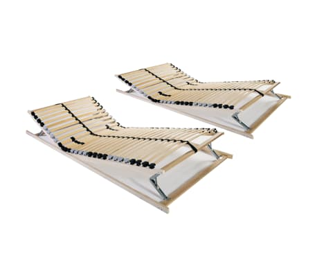 vidaXL Slatted Bed Bases 2 pcs with 28 Slats 7 Zones 90x200 cm