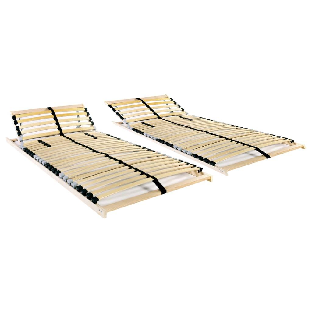 vidaXL Baze de pat cu șipci, 2 buc., 28 șipci, 7 zone, 90 x 200 cm