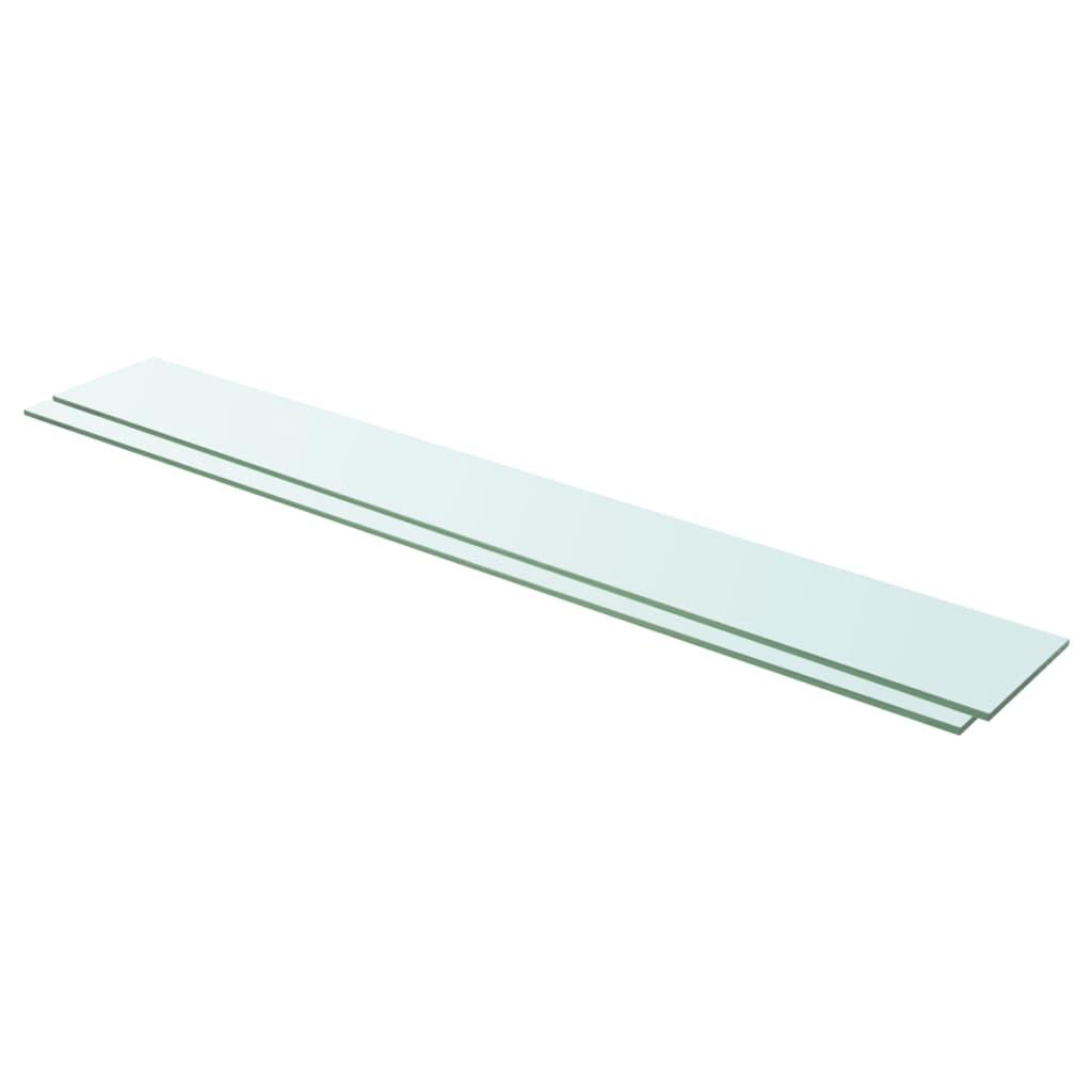 vidaXL Rafturi, 2 buc., 110 x 15 cm, panouri sticlă transparentă poza vidaxl.ro