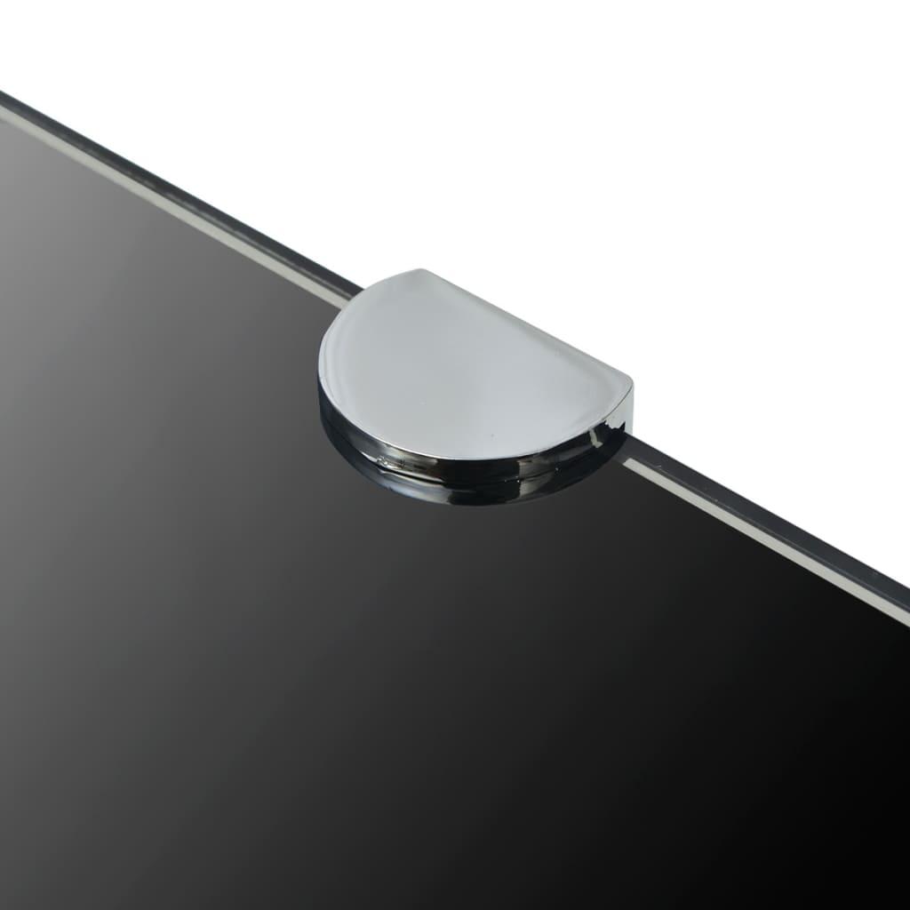 vidaXL Hoekschappen 2 st met chromen dragers 25x25 cm glas zwart
