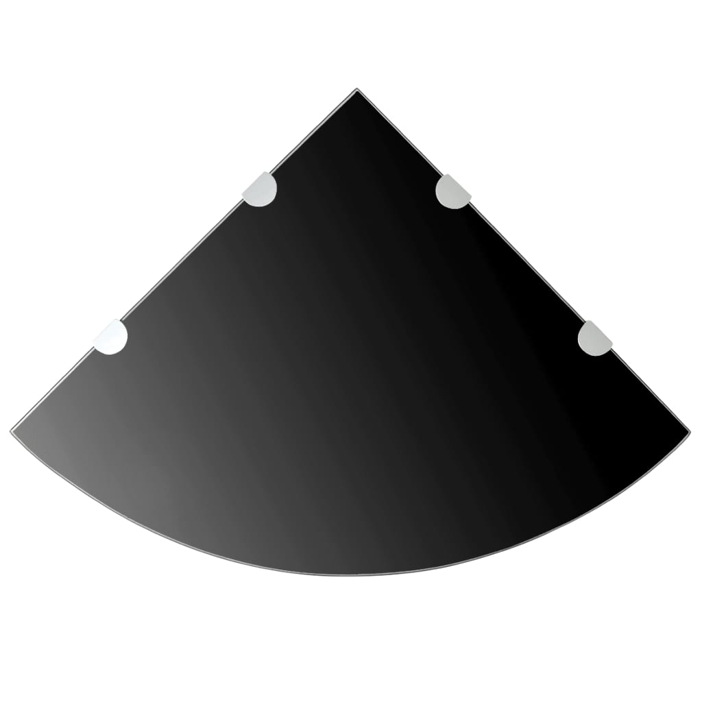 vidaXL Rafturi de colț cu suporturi crom 2 buc. negru 45x45 cm sticlă poza 2021 vidaXL