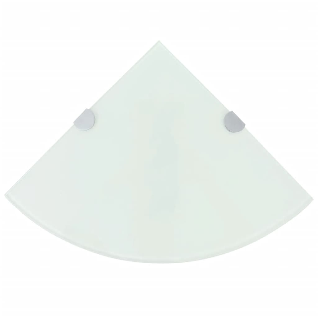 vidaXL Rafturi de colț cu suporturi de crom 2 buc. alb 25x25 cm sticlă poza vidaxl.ro
