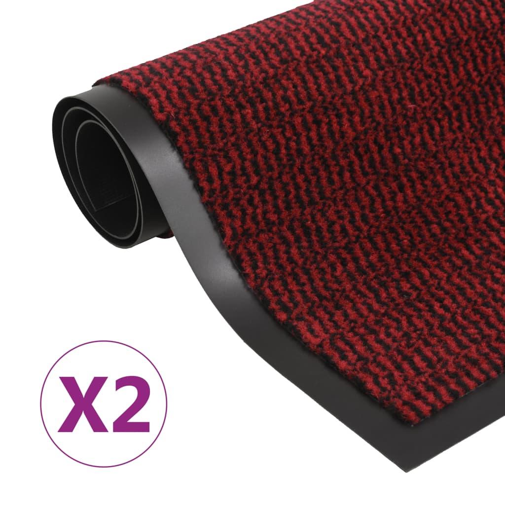 Droogloopmatten 2 st rechthoekig getuft 60x90 cm rood