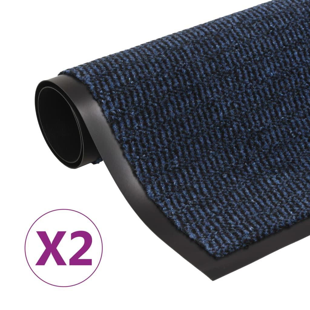 Protiprachové rohožky 2 ks obdélník všívané 80 x 120 cm modré