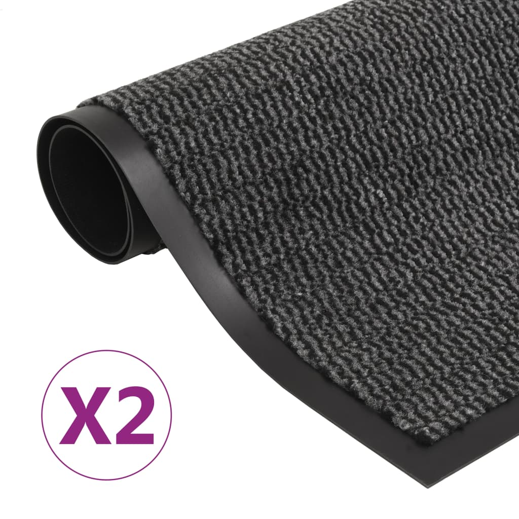 Protiprachové obdélníkové rohožky 2 ks všité 90x150 cm antracit