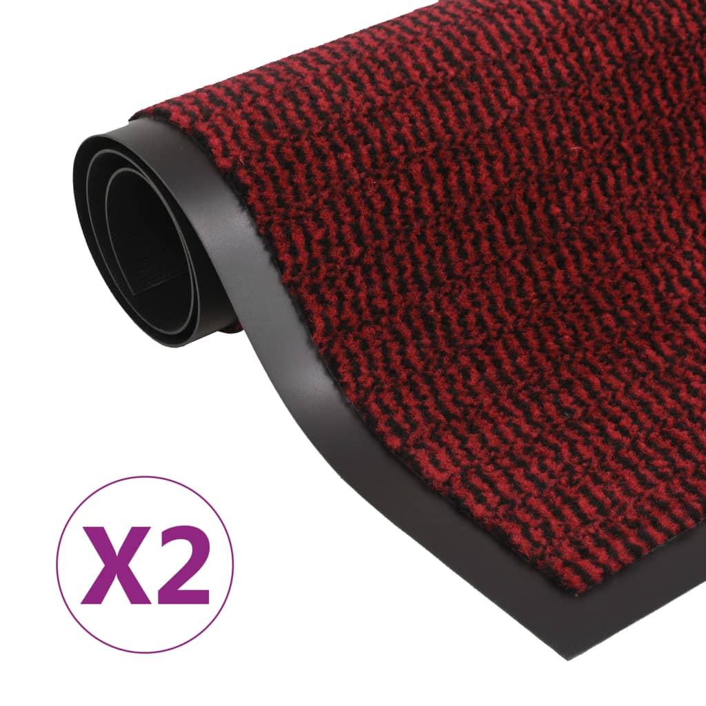 Protiprachové obdélníkové rohožky 2ks všívané 90x150 cm červené
