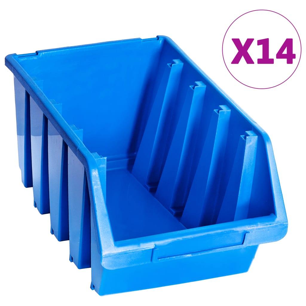 vidaXL Cutii de depozitare stivuibile, 14 buc., albastru, plastic poza 2021 vidaXL