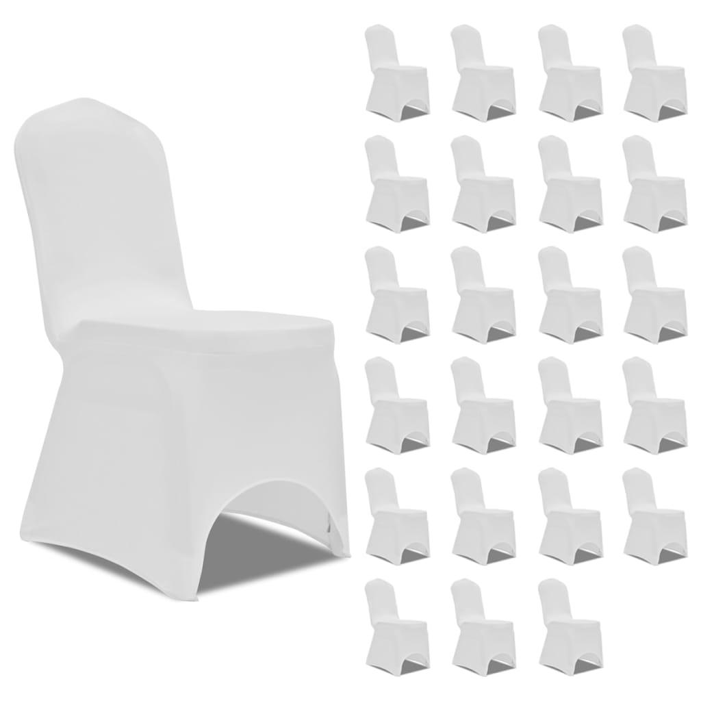 vidaXL Huse de scaun elastice, 24 buc., alb poza 2021 vidaXL