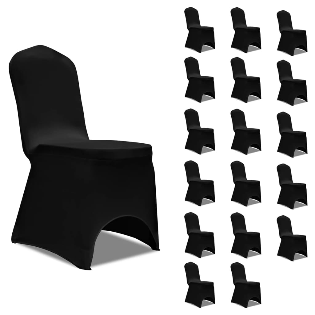 vidaXL Huse de scaun elastice, 18 buc., negru poza 2021 vidaXL
