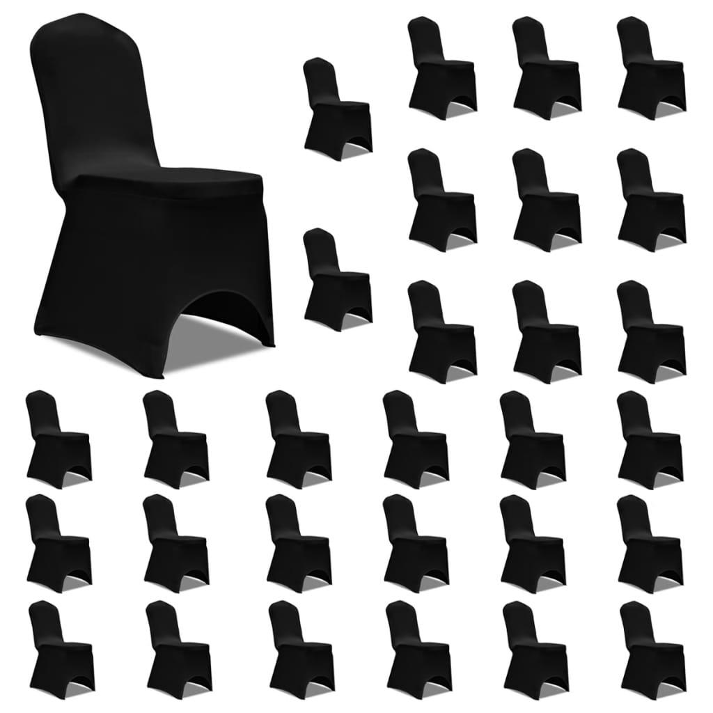 vidaXL Huse de scaun elastice, 30 buc., negru poza 2021 vidaXL