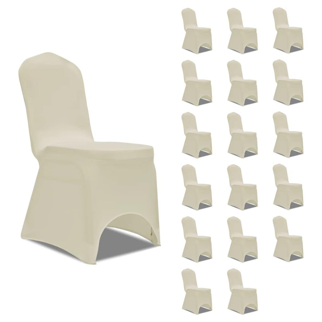 vidaXL Huse elastice pentru scaun, 18 buc., crem poza 2021 vidaXL