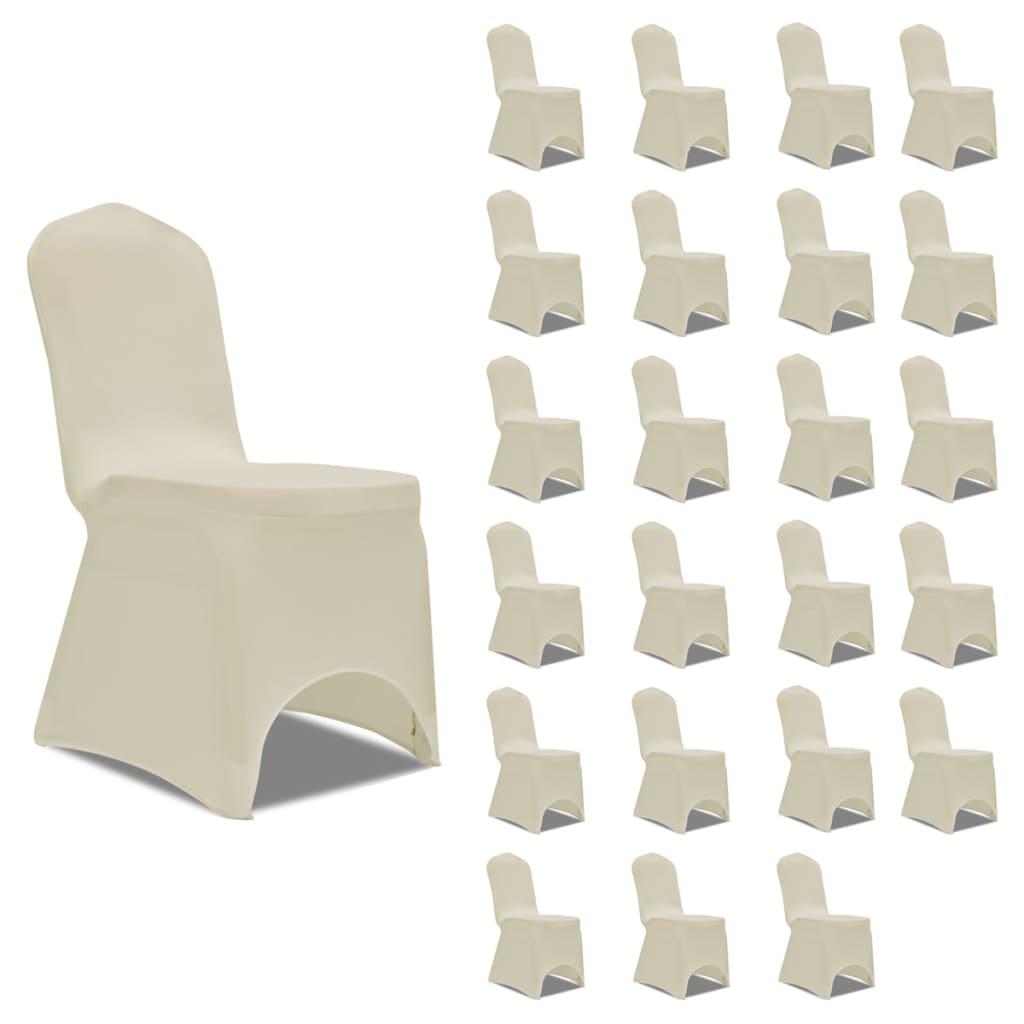 vidaXL Huse elastice pentru scaun, 24 buc., crem poza vidaxl.ro