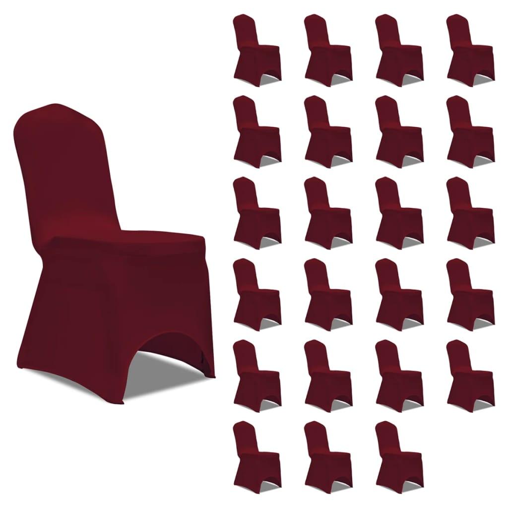 vidaXL Huse de scaun elastice, 24 buc., vișiniu poza vidaxl.ro