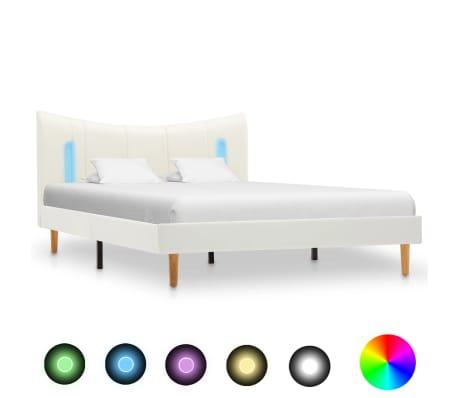 vidaXL Cadru de pat cu LED, alb, 120 x 200 cm, piele ecologică