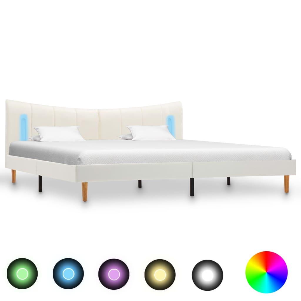 vidaXL Cadru de pat cu LED, alb, 200 x 200 cm, piele ecologică vidaxl.ro