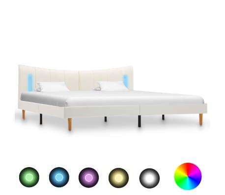 vidaXL Cadru de pat cu LED, alb, 200 x 200 cm, piele ecologică