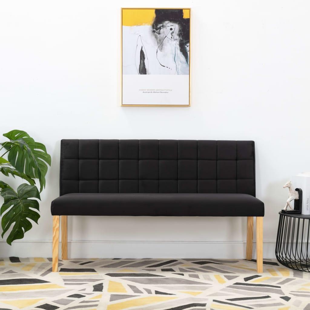 vidaXL Bancă, negru, 140 cm, material textil imagine vidaxl.ro