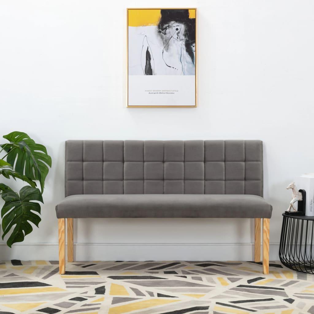 vidaXL Bancă, gri, 140 cm, material textil vidaxl.ro