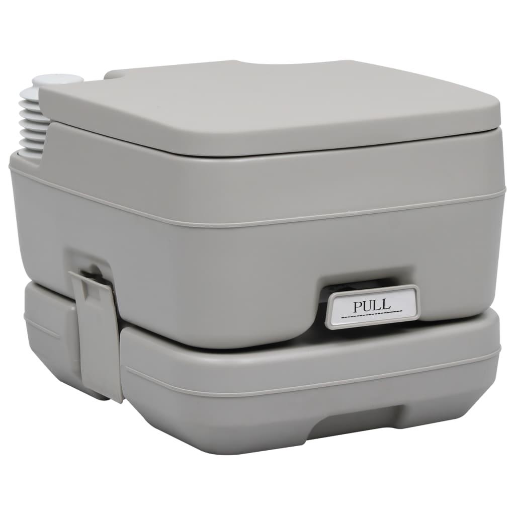 vidaXL Toaletă portabilă pentru camping, gri, 10+10 L poza vidaxl.ro