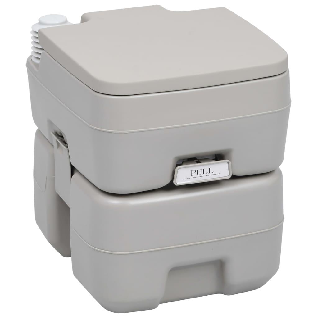 vidaXL Toaletă portabilă pentru camping, gri, 20+10 L poza vidaxl.ro