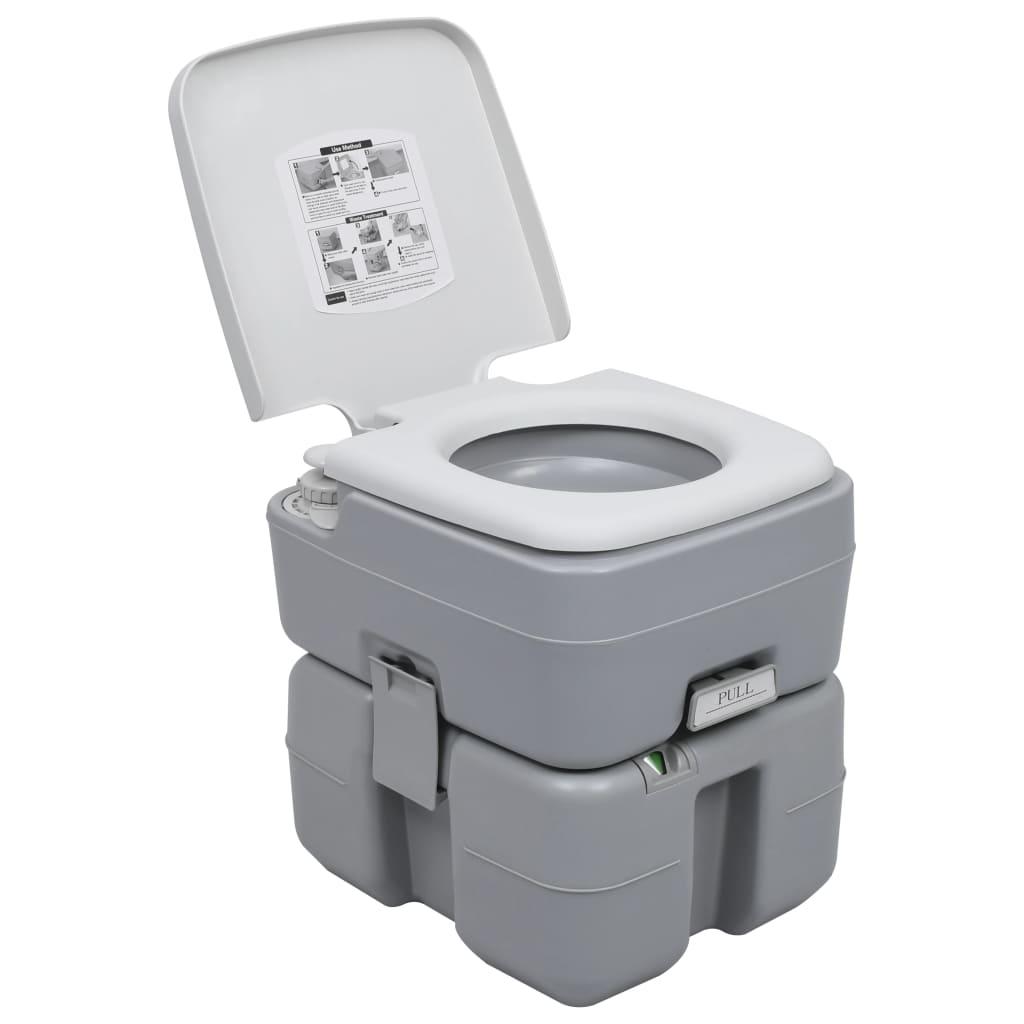 vidaXL Toaletă portabilă pentru camping, gri, 20+10 L vidaxl.ro