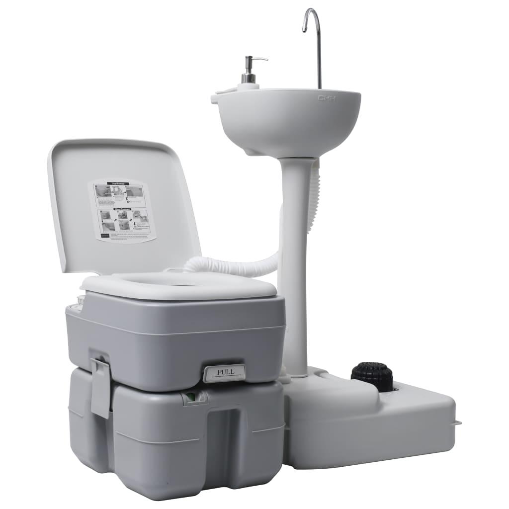 vidaXL Sada přenosného kempingového WC a umyvadla na mytí rukou šedá