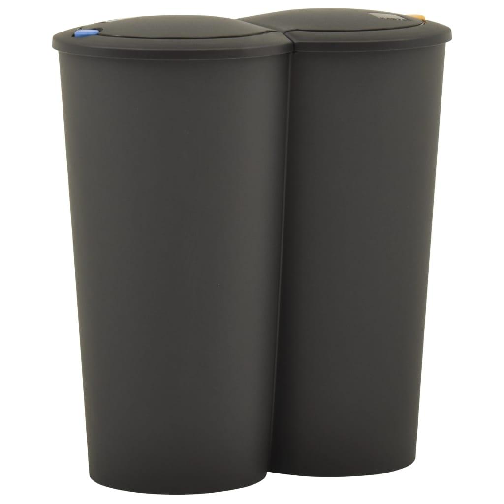 vidaXL Coș de gunoi dublu 50 L negru poza vidaxl.ro