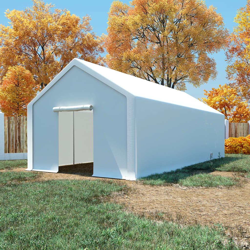 vidaXL Cort de depozitare, alb, 4 x 8 m, polietilenă vidaxl.ro