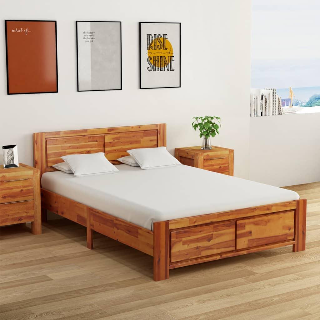 vidaXL Cadru de pat, 140 x 200 cm, lemn masiv de acacia poza vidaxl.ro