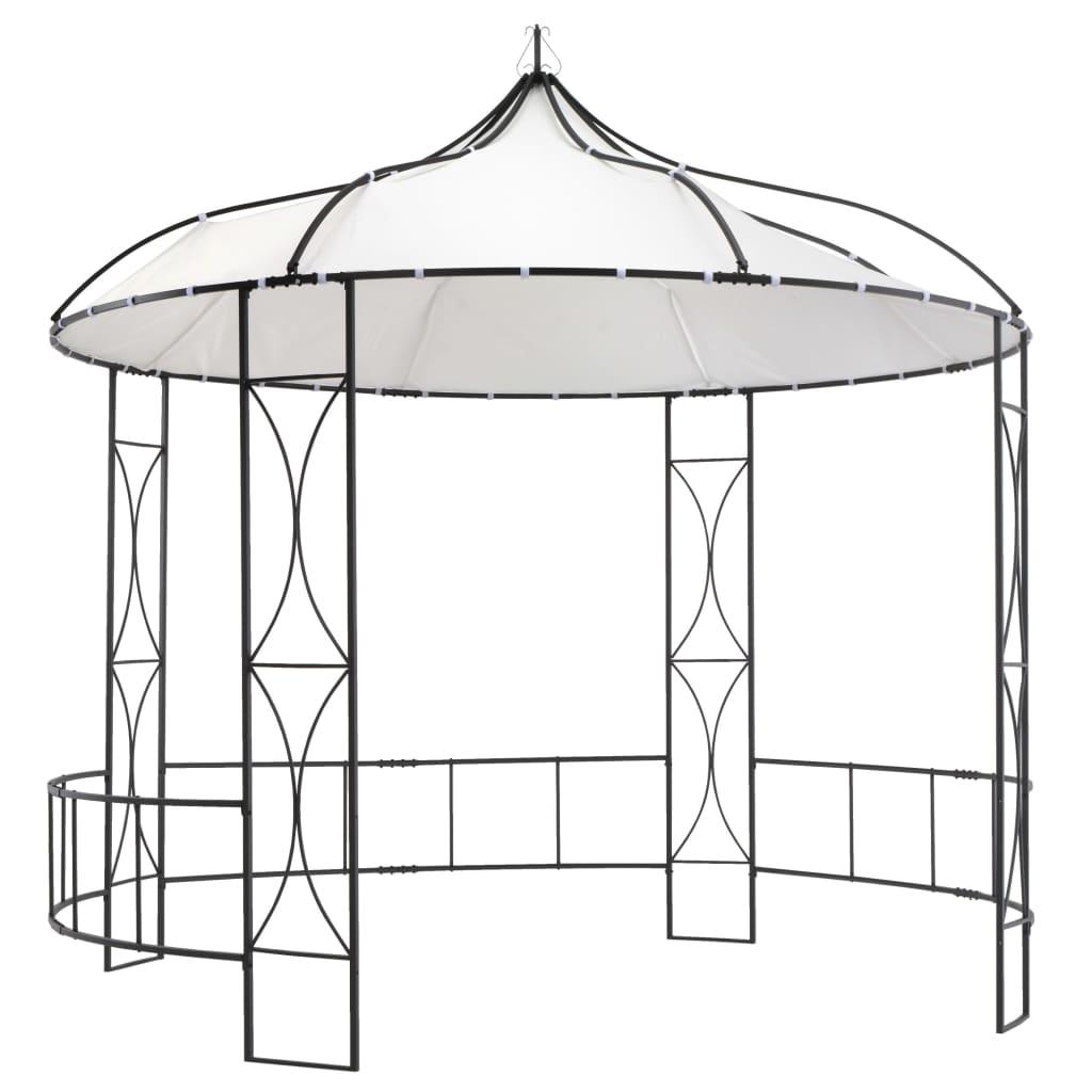 vidaXL Pavilion, alb, 300 x 290 cm, rotund imagine vidaxl.ro