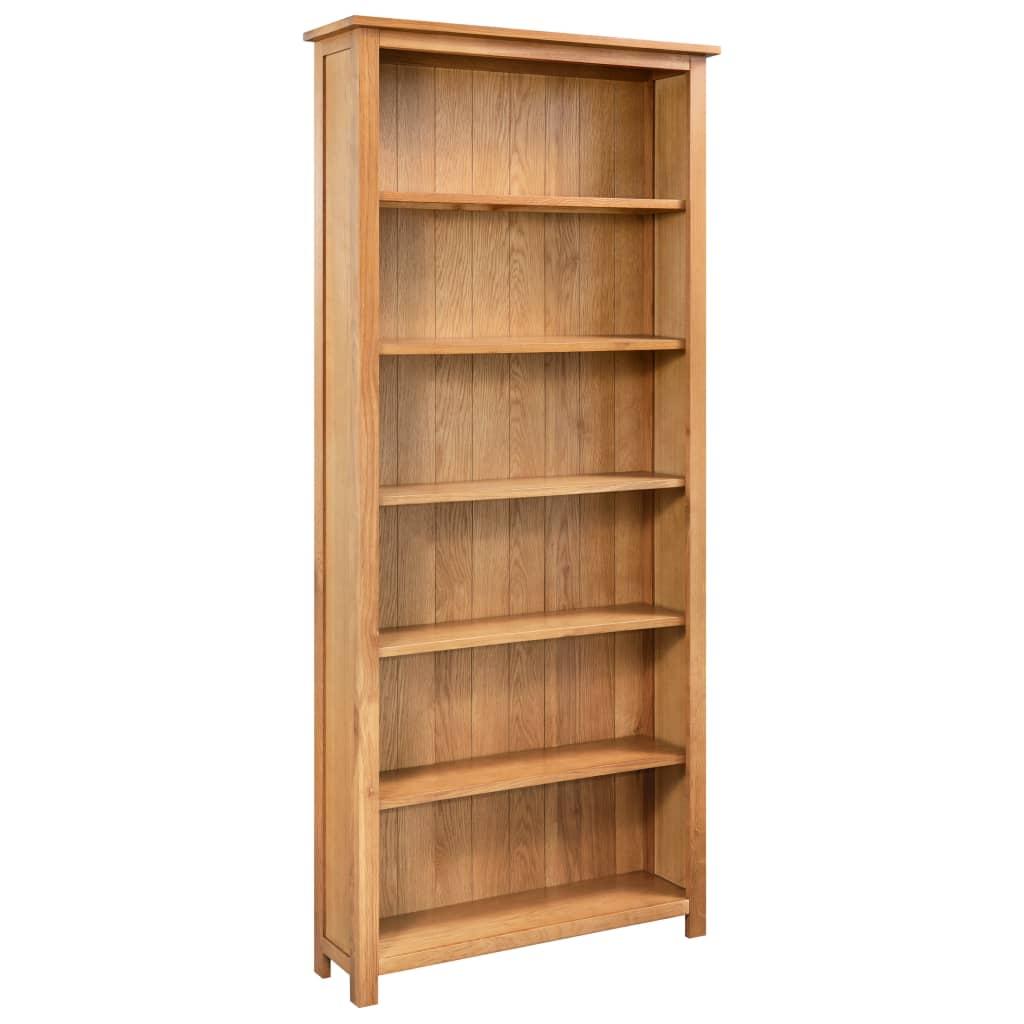 vidaXL Boekenkast met 6 schappen 80x22,5x170 cm massief eikenhout