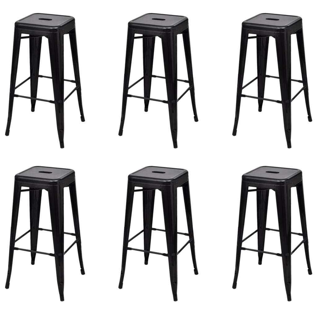 vidaXL Scaune de bar, 6 buc., negru, oțel poza 2021 vidaXL