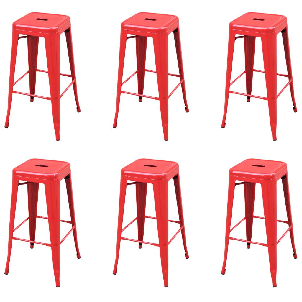 <ul><li>Farbe: Rot</li><li>Material: Stahl</li><li>Gesamtabmessungen: 43 x 43 x 76 cm (B x T x H)</li><li>Sitzbreite: 31 cm</li><li>Sitztiefe: 31 cm</li><li>Sitzhöhe vom Boden: 76 cm</li><li>Höhenverstellbar: Nein</li><li>Armlehnen: Nein</li><li><strong>Lieferung enthält:</strong></li><li>6 x Barhocker</li></ul>