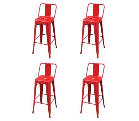 vidaXL Barkrukken 4 st staal rood