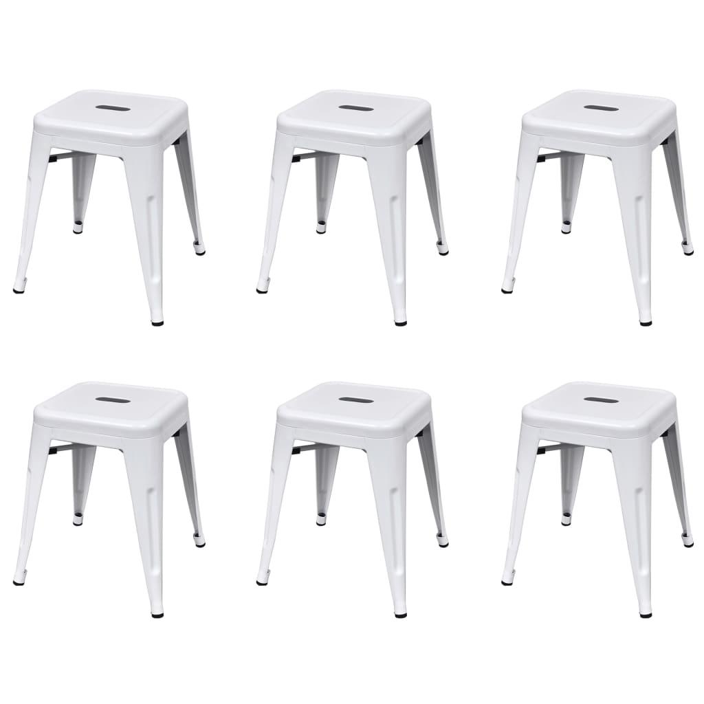 Stohovatelné stoličky 6 ks bílé ocel