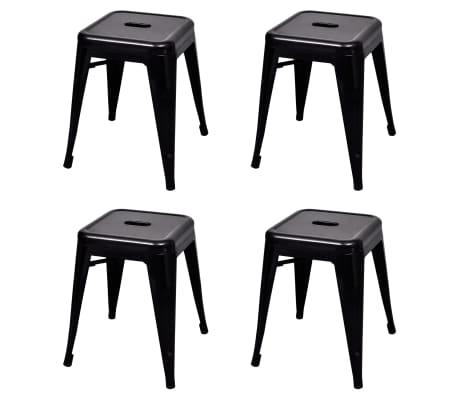 vidaXL Stapelbara pallar 4 st svart stål