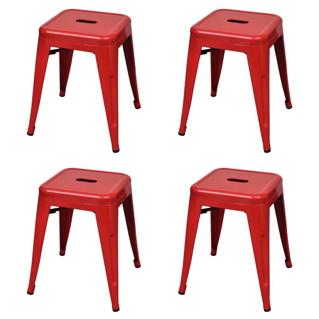 vidaXL Scaune stivuibile, 4 buc., roșu, oțel poza vidaxl.ro