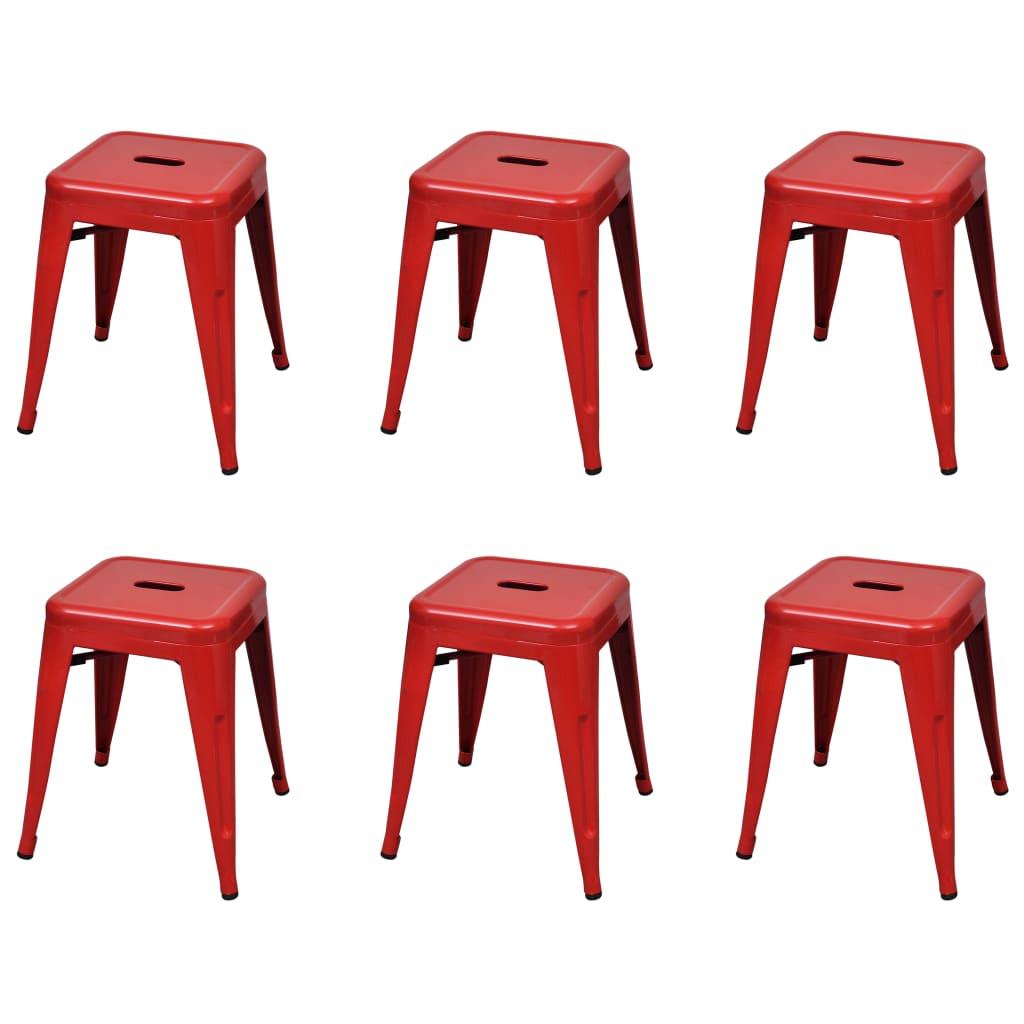 Stohovatelné stoličky 6 ks červené ocel